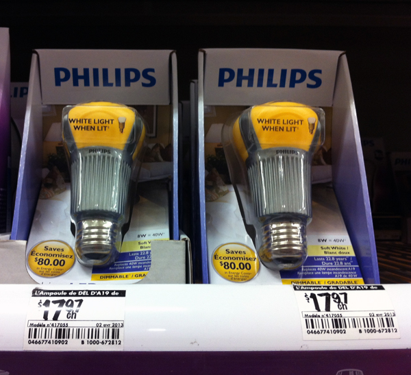 Philips LED bulbs. Photo by Jesse Corbeil